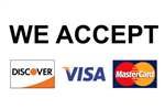 We accept Discover, Visa, MasterCard