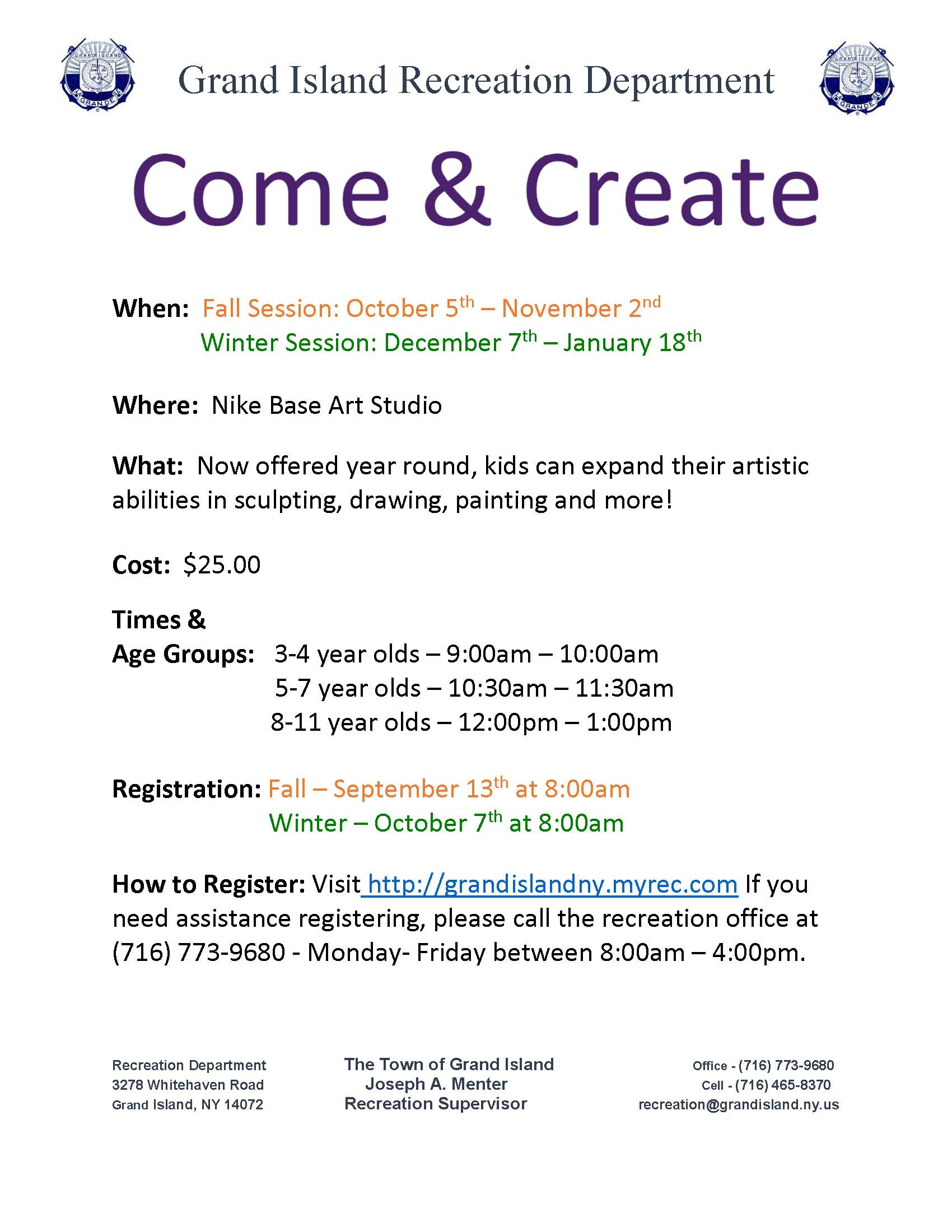Youth- Come & Create Winter Flyer 2019-2020